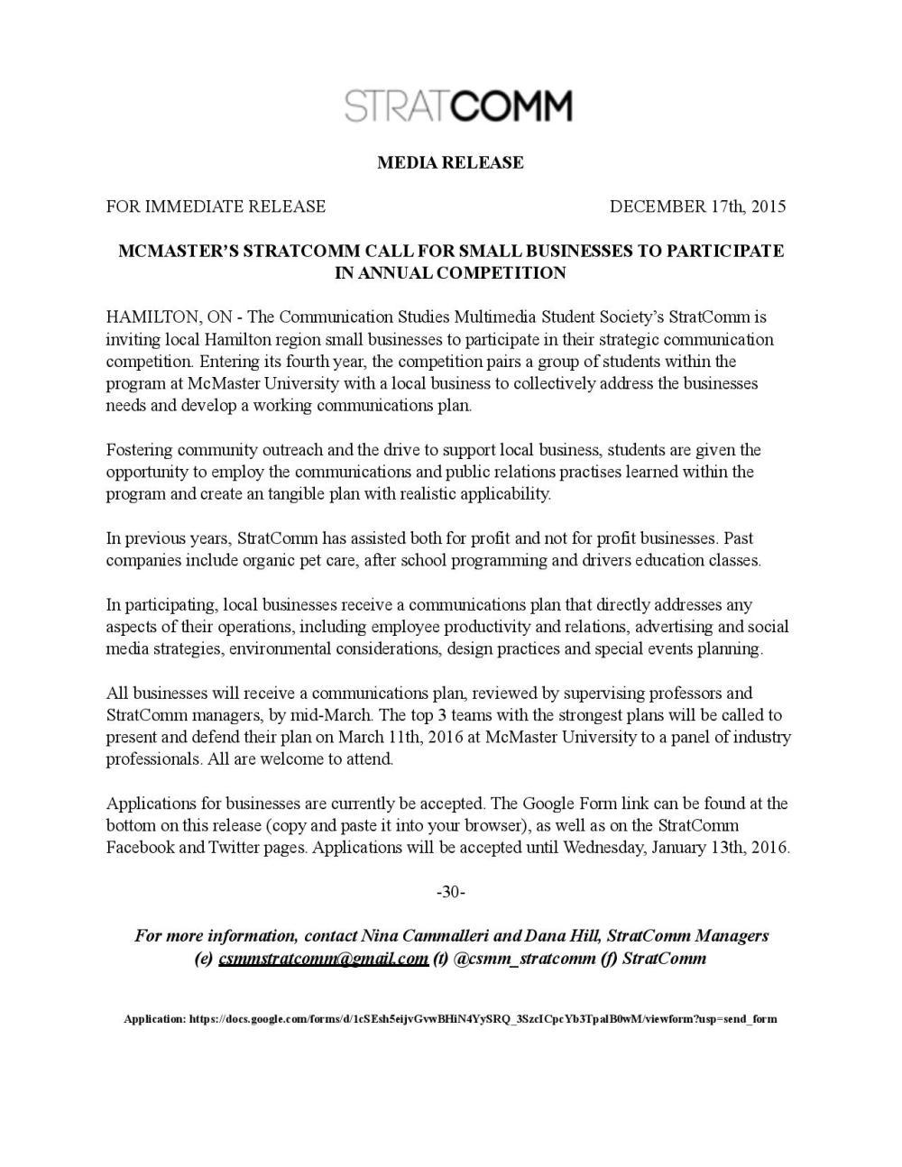 StratComm Press Release
